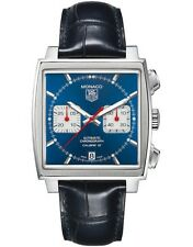 TAG HEUER MONACO CAW2111.FC6183 AUTOMATIC CHRONOGRAPH BLUE LEATHER MEN'S WATCH