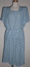 True Vintage 1980 Leslie Peters Blue Floral Dress with Belt and Elastic Waist