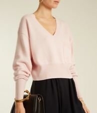 Chloe Sweater Pink Crop Cashmere Blend Longsleeve V-Neck Nwt Size Extra Small