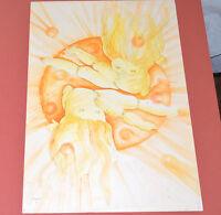 Dessin Psychédélique ORIGINAL Aquarelle 70th signé AGAPIN 1973 50x60cm