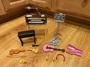 BARBIE Doll DIORAMA Accessories Musical Instruments Violin Guitar Piano Trumpet