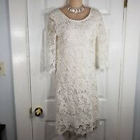 NWT MOONLIGHT by FRANCESCA'S White Crochet Lace 3/4 Sleeve Dress Size Small NEW