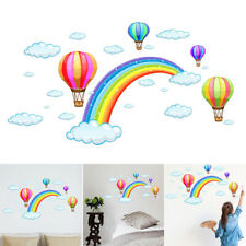 Cartoon Rainbow Cloud Hot Air Balloon Wall Sticker For Kids Baby Room Decoration