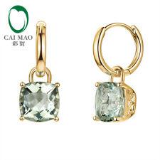 14K Yellow Gold 5.10ctw 8.5mm Cushion Shape Green Amethyst Drop Earrings