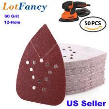 50PCS 60 Grit Sanding Sheets Sandpaper Mouse Palm Sander Paper 12 Hole Hook Loop