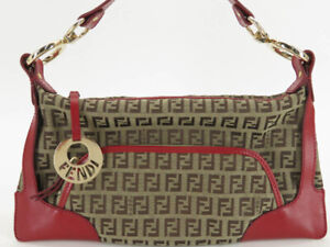 FENDI ZUCCHINO CANVAS RED LEATHER SHOULDER BAG EY859