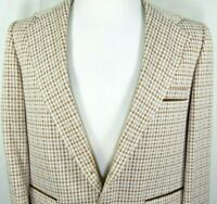 Montgomery Ward Mens Vintage Sport Coat Size 42 Brown Houndstooth Wide Lapel USA