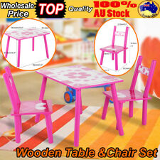 Kids Table and 2 Chairs Set Children Wooden  Activity Play Outdoor Large 60x40cm