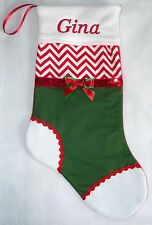 NEW Personalized Decorative Red Chevron & Green Christmas Stocking Embroidered