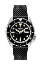 New Seiko 5 Automatic Black Dial Rubber Strap Men's Watch SRPD95