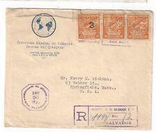 1938 San Salvador El Salvador Registered Commercial Official to Springfield MA