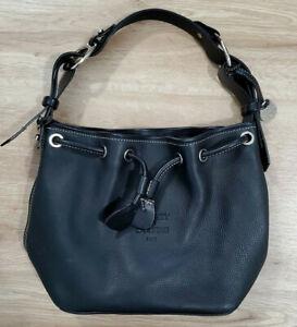 Dooney And Bourke Drawstring Satchel Purse Shoulder Bag Black