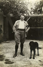 PHOTO ANCIENNE - VINTAGE SNAPSHOT - CHASSE CHASSEUR CHIEN ARME - HUNTER DOG
