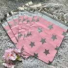 100 Designer Printed Poly Mailers 10X13 Shipping Envelopes Bags PINK SILVER STAR