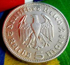 1935-J NAZI 3rd REICH 5 Mark .900 SILVER COIN-German WW2 GERMANY 5 ReichsMark