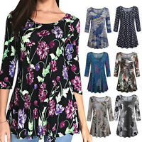 Womens Ladies Casual Floral Print Shirts 3/4 Sleeves Vintage Tunic Blouse Tops