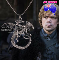 Game Of Thrones Black Targaryen Dragon Pendant Necklace