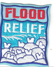 """FLOOD RELIEF"" PATCH/Iron On Embroidered Applique/Nurse, Medic, Red Cross"