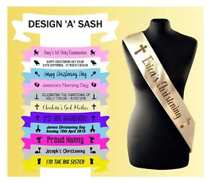 Custom Made Sash Sashes Christening God Parents God Mother God Father Who's Who