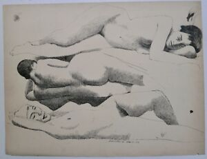 """Three Nude Women Lying Down-20"""" x 26"""" Ink Drawing-1958-August Mosca"""