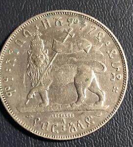 Ethiopia   1889  silver  1/2 birr ,  scarce