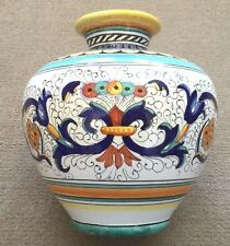 Deruta Pottery-9 Inch Tall Vase Ricco Deruta,Made/painted by hand-Italy.