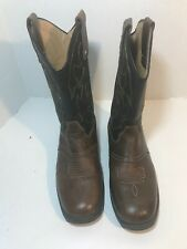 MENS WRANGLER Size 10 1/2 BROWN LEATHER WORK COWBOY WESTERN BOOTS #B042
