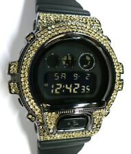 BLING-SHOCK - Custom Casio G-SHOCK DW-6900 - Blackout/Black Chrome/Canary - NEW