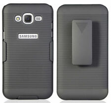 BLACK RIBBED HARD CASE + BELT CLIP HOLSTER STAND FOR SAMSUNG GALAXY J7 J700