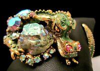 Rare Vintage Signed HAR Fantasy Green Enamel Jeweled Dragon Clamper Bracelet M6
