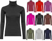 women plain cotton ribbed polo neck long sleeve turtle neck jumper top plus size