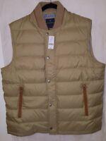 Brooks Brothers Men's XL Dark Beige Down Vest With Leather Trim MSRP $349