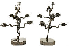 Pair of Japanese Candelabras, Patinated Bronze, 18th Century