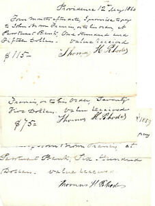RHODE ISLAND GOVERNOR JOHN BROWN FRANCIS THREE PROMISSORY PAY NOTES SIGNED 1860