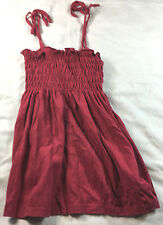 Lux red smocked bodice blouse with spaghetti straps, size M