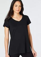 NEW PURE J JILL XS S M L Shirred-back Elliptical Tee Top Pima Cotton Black