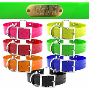 """21"""" Hunting Dog Name Collar Strap Heavy Duty Ring in Center 1 1/2"""" Wide Solid"""
