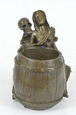 Bronze Sculpture Skeleton & Naked Lady Nude Girl & Barrel Pen Toothbrush Holder
