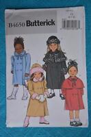#B4650 Butterick EASY Sewing PATTERN Girls Jacket - Hats Size 6-7-8yrs NEW