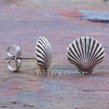 .925 sterling silver SEA SHELL Beach Nautical EARRINGS Hypo Allergenic Post Stud