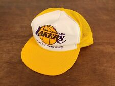 ad82f8465af Los Angeles Lakers Vtg 80s World Chamopions Yellow Snap Back Hat Nissin  Taiwan