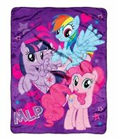 My Little Pony Horses MLP Purple Micro-Raschel Plush Fleece Throw Blanket NEW