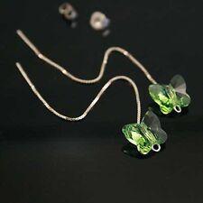 Verde Mariposa Cristal 925 Plata Pendientes Accesorio elementos SWAROVSKI GENUINOS