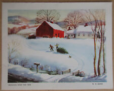 Rare Vtg 1950's Used Christmas Greeting Card Bringing Home The Tree W. H. Mann