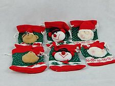 6 New Emrad Creations Christmas Gift Bag Stockings Plush Santa Snowman Bear