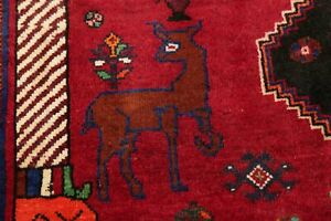 Tribal Animal Pictorial Abadeh Area Rug Geometric Oriental Hand-made Carpet 4x6