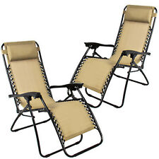 2PC Zero Gravity Chairs Lounge Patio Folding Recliner Outdoor Yard Beach Tan