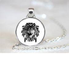 Wolf Dreamcatcher PENDANT NECKLACE Chain Glass Tibet Silver Jewellery