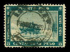 PUERTO RICO 1893 COLUMBUS landing 400th Anniversary 3c green Scott # 133 used VF