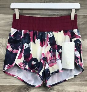 Lululemon Tracker Short II Inky Floral Ghost Inkwell Bumble Berry Sz 6 - 68684